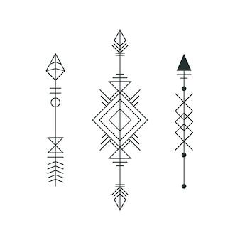 Set di frecce grafiche per il disegno del tatuaggio