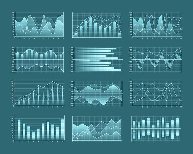 Set di grafici e tabelle icone di infografica inclusa la linea di barre impilate di colonne raggruppate contrassegnate