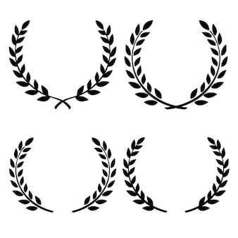 Insieme della corona floreale disegnata a mano del ramo di ulivo greco, cornici decorative. isolato.