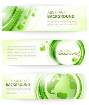 Insieme delle bandiere verdi astratte di vettore con terra, disegno di eco.