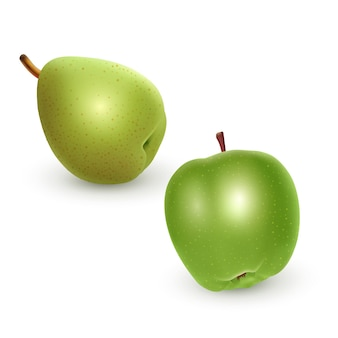 Set di mela verde e pera