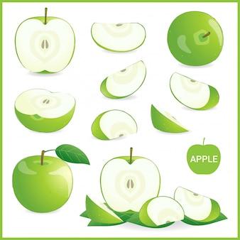 Set di mela verde in pezzi, intero, fetta e mezzo in formato vettoriale isolato