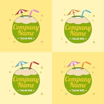 Set di modello di logo per bevanda al cocco verde con ombrellone e paglia su sfondo giallo chiaro