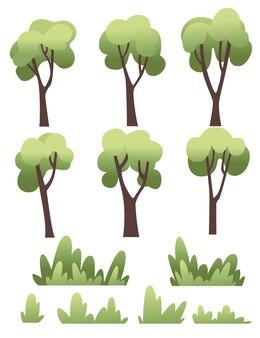Insieme dell'illustrazione piana di vettore piana degli alberi e dei cespugli verdi su fondo bianco