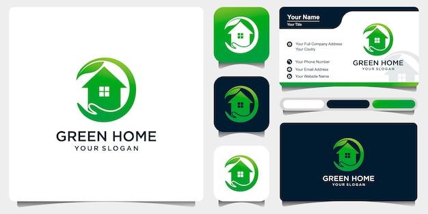 Set di cure domiciliari verdi con combinazione una mano e una casa. modello di logo per azienda vettore premium