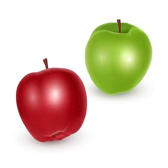 Set di mele verdi e rosse