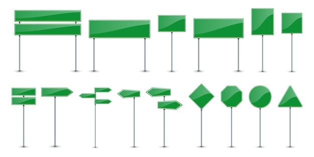 Set di pannelli di testo strada verde.
