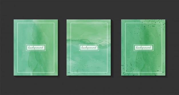 Set di sfondo verde acquerello, disegno dipinto a mano