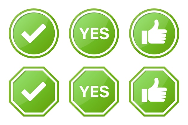 Set di cartelli sì verdi con segno di spunta e like