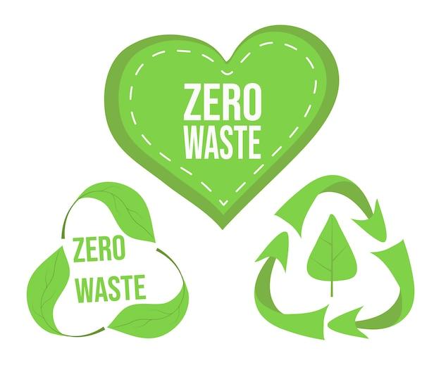 Set di logo verde rifiuti zero, simboli di riciclaggio, adesivi ecologici, manifesto, banner, cuore