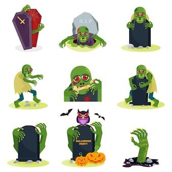 Set di zombie verdi con occhi rossi fa capolino da dietro una lapide