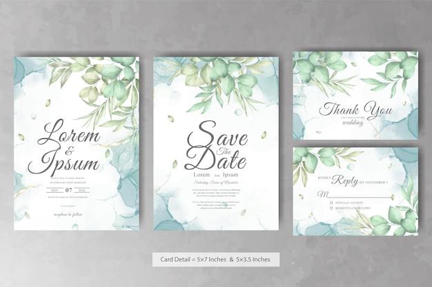 Set di modello di carta di invito a nozze cornice floreale verde con floreale disegnato a mano dell'acquerello