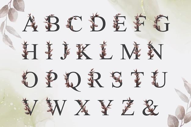 Set di alfabeto floreale verde acquerello con foglie disegnate a mano