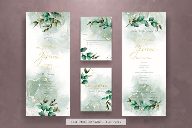 Set di modello di invito a nozze acquerello verde con foglie disegnate a mano