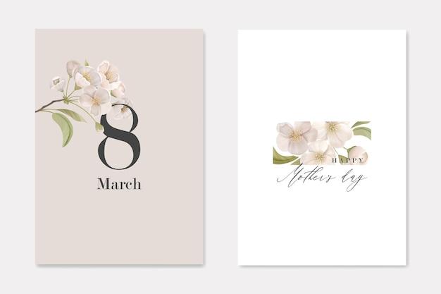 Set di biglietti di auguri per le vacanze internazionali dell'8 marzo e la festa della mamma. elegante composizione con fiori di ciliegio bianco su sfondo beige. banner stampabili con illustrazione vettoriale di elementi floreali