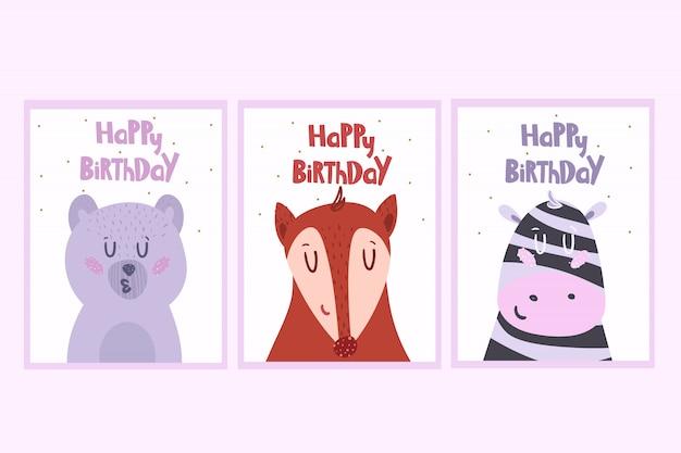 Set di biglietti di auguri con animali. illustrazione.