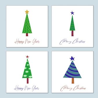 Set di cartoline natalizie di auguri di alberi di natale decorati stilizzati