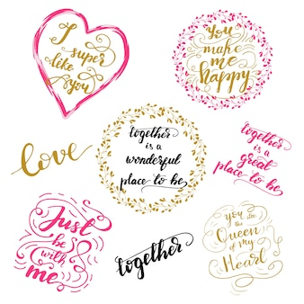 Set di saluto lettering frasi per san valentino. illustrazione vettoriale