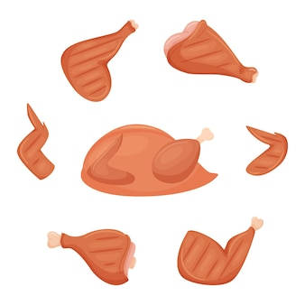 Un insieme di ingredienti di pollo alla griglia. petto di pollo fritto cotto, coscia, ala, stinco. un pollo intero.