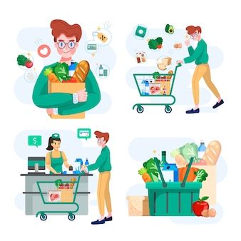 Set di drogheria o shopping al concetto di supermercato illustrazione