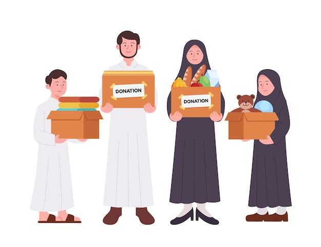 Impostare un gruppo di famiglia araba che trasportano casella di donazione