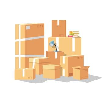 Set di un gruppo di scatole di cartone. azienda di trasporto o trasloco che offre servizi di trasloco, trasloco in altra città, stato, nazione. accumulazione del fumetto su bianco.