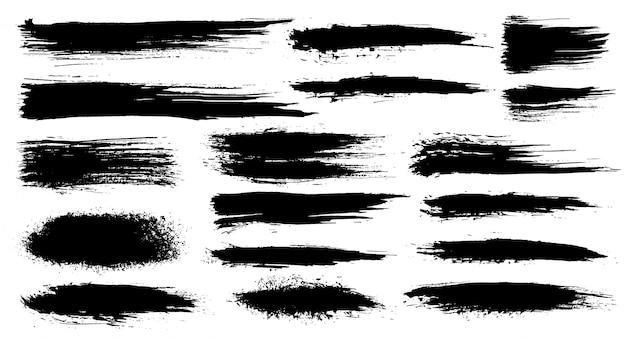 Set di pennellate artistiche grunge, pennelli. elementi di design creativo. pennellate larghe dell'acquerello di lerciume. collezione nera isolata