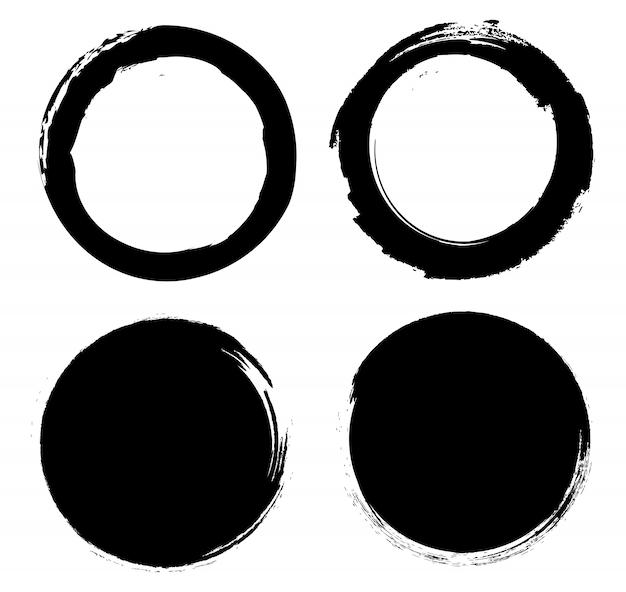 Set di cerchi di inchiostro nero grunge.
