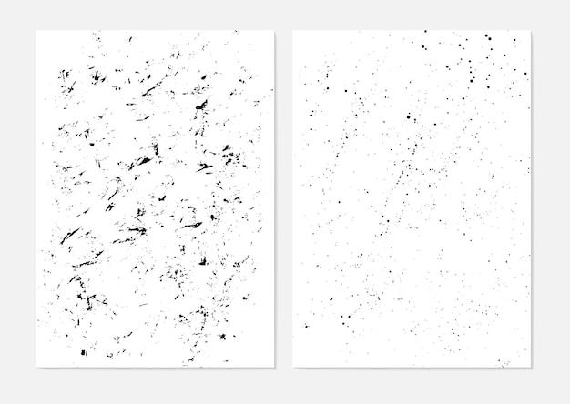 Insieme dei tratti di pennelli grunge dipingono la carta con un pennello asciutto. macchie di inchiostro astratte