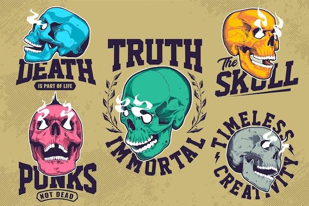 Set di emblemi grunge con teschi pop art o con occhi fumanti. modelli di design con stampa t-shirt. grafico di vettore eps10.