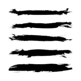Set di pennellate di grunge illustrator. spazzole fatte a mano Vettore Premium