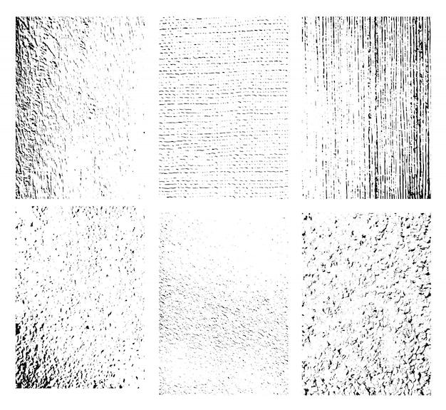 Set di texture grunge. raccolta di diversi bianco e nero b