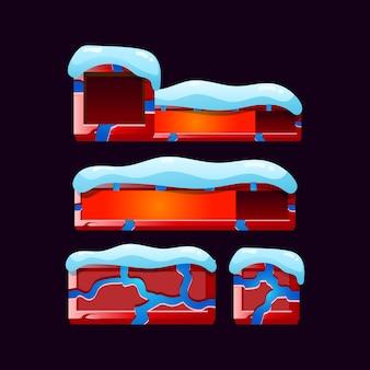 Set di cornice del bordo della barra dell'indicatore di natale gui per elementi di asset dell'interfaccia utente del gioco