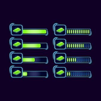 Set di gui fantasy rpg bucks barra di avanzamento del denaro per gli elementi delle risorse dell'interfaccia utente del gioco