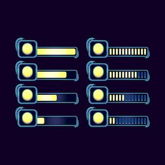 Set di barra di avanzamento della moneta di valuta rpg fantasy gui per elementi di asset dell'interfaccia utente di gioco