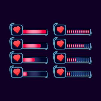 Set di barra di avanzamento della vita di salute di gui fantasy rpg per elementi di risorse dell'interfaccia utente di gioco
