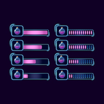 Set di barra di avanzamento gui fantasy rpg pozione bottiglia magica per elementi di risorse dell'interfaccia utente di gioco