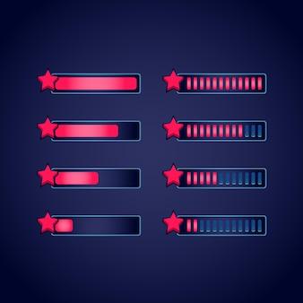 Set di barra di avanzamento stella gui fantasy rpg per giochi 2d