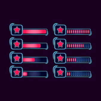 Set di barra di avanzamento della stella rpg fantasy gui per gli elementi delle risorse dell'interfaccia utente del gioco