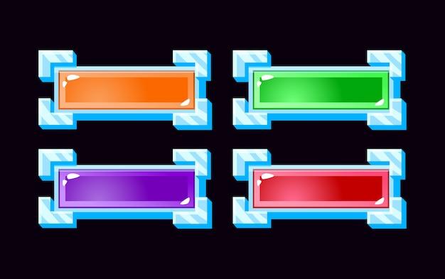 Set di pulsanti di gelatina gui con bordo argento per elementi di asset dell'interfaccia utente del gioco