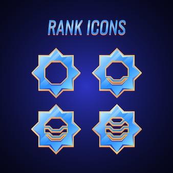 Set di medaglie gui rank con trama a diamante e broder dorato per elementi di asset dell'interfaccia utente del gioco