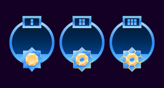Set di avatar con cornice bordo diamante dorato e lucido arrotondato con grado adatto per elementi di asset dell'interfaccia utente del gioco spaziale