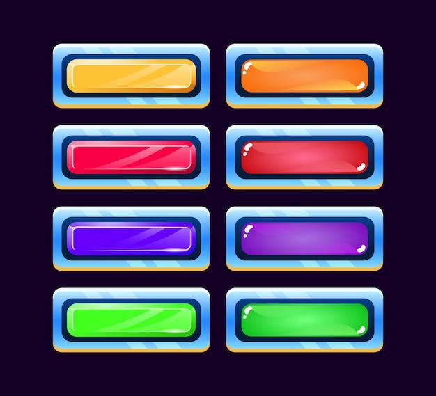 Set di gelatina spaziale gui e pulsante diamante con icone di vari colori per elementi di asset dell'interfaccia utente del gioco