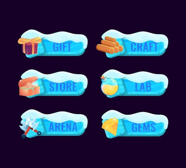 Set di pannello cornice modello gui con tema neve ghiaccio