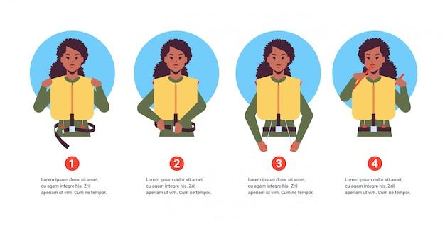 Impostare la guida da hostess assistente di volo afroamericano che spiega le istruzioni con giubbotto di salvataggio in situazione di emergenza passo dopo passo concetto di dimostrazione di sicurezza verticale ritratto spazio