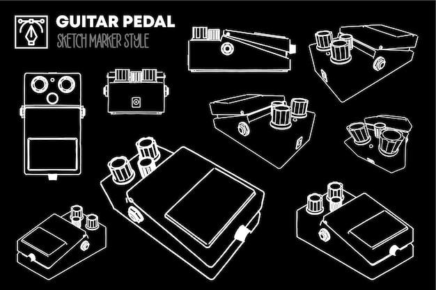 Set di visualizzazioni del pedale della chitarra. disegni effetto pennarello. sagome modificabili.