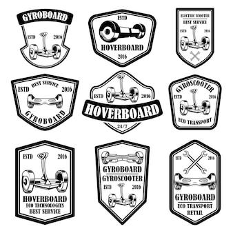 Set di emblemi di scooter giroscopio. elementi di design per logo, etichetta, segno, poster, carta. illustrazione vettoriale