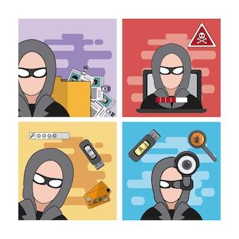 Insieme di progettazione grafica dell'illustrazione di vettore della raccolta delle icone del pirata informatico