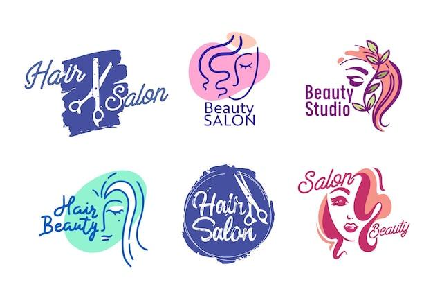 Set di capelli o salone di bellezza logo, etichette isolate per barbershop, donne parlor haircut servizio emblemi o icone. banner creativi con volto femminile e forbici su sfondo bianco. illustrazione vettoriale
