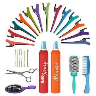 Set di strumenti per parrucchieri illustrazione vettoriale isolato su bianco. pettini professionali, forbici e spray, forcine di diversi tipi